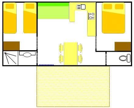 Confort mobilhome 2 chambres 28m terrasse campil - Superficie minimum chambre ...