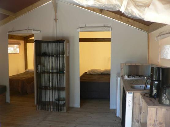 Tente bois/Toile NATURE 30m² - 2 chambres + Terrasse ...